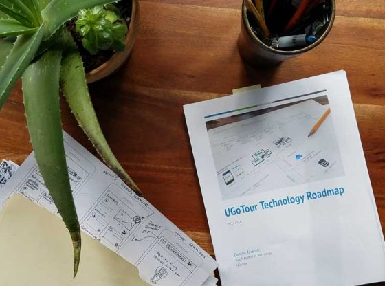 Application technology roadmap document on desk