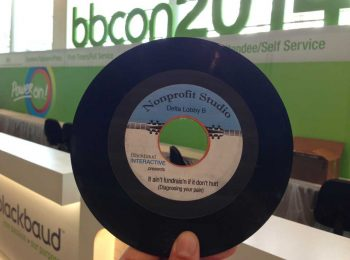 Vinyl record with custom label for conference audience engagement