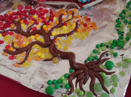 Candy tree made of tootsie rolls and gum drops
