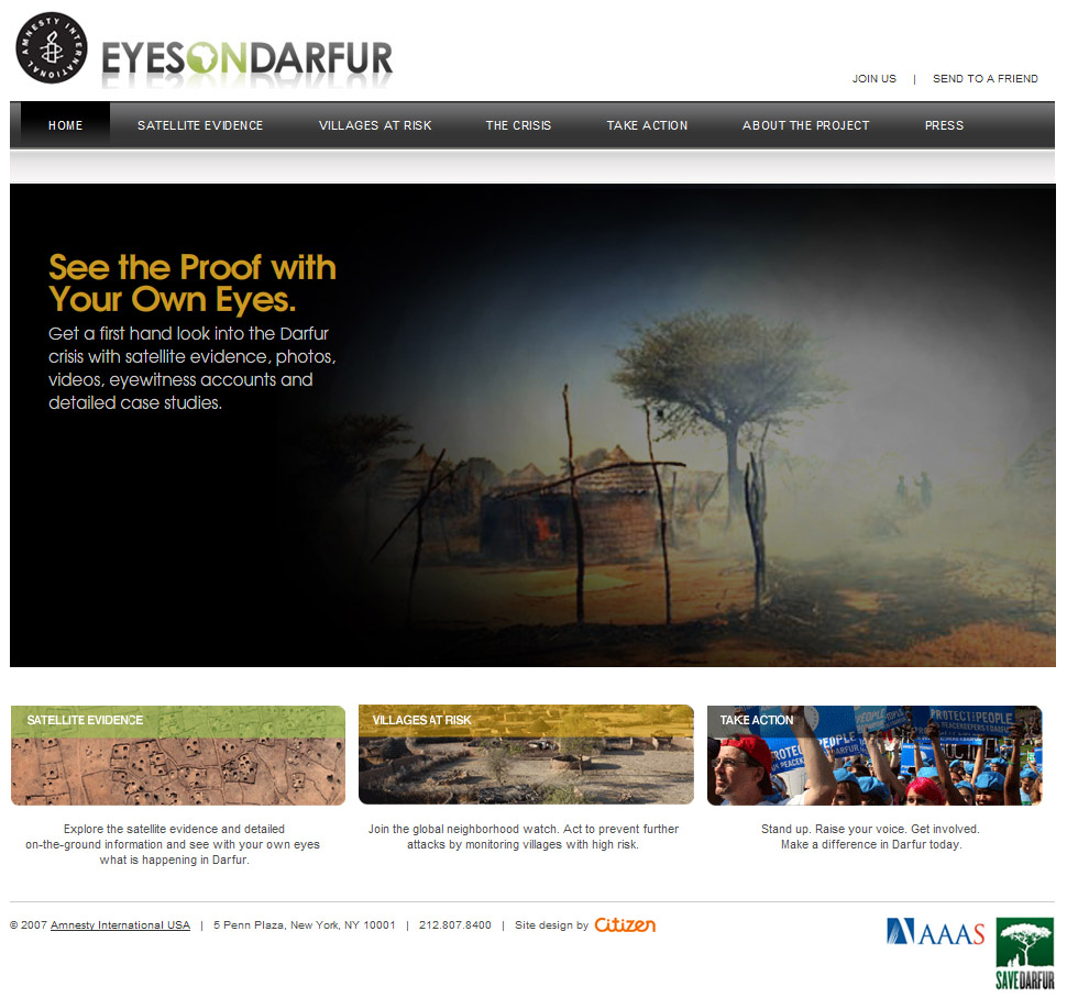 Screenshot of EyesOnDarfur.org website, 2008 Webby Award winner